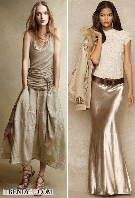 Бежевые юбки - миди и макси
