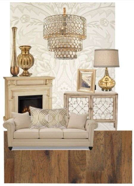 Gold Amp Cream Living Room Decor Polyvore Room Living