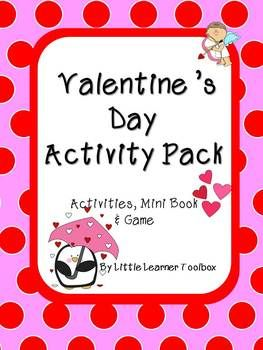 Valentine's Day activity pack full of morning work, language & math activities, word family worksheets, a wordsearch and a board game!