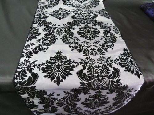 "Satin Charmeuse Damask Table Runner. 13"" X 60"" 100% Polyester"