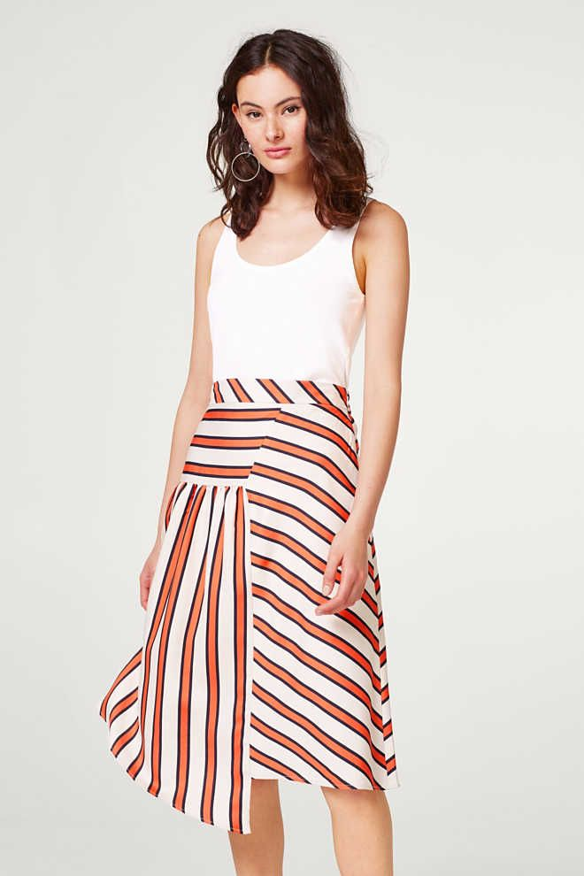 Esprit - Flowing skirt in a new striped look at our Online Shop ... 889d40964a