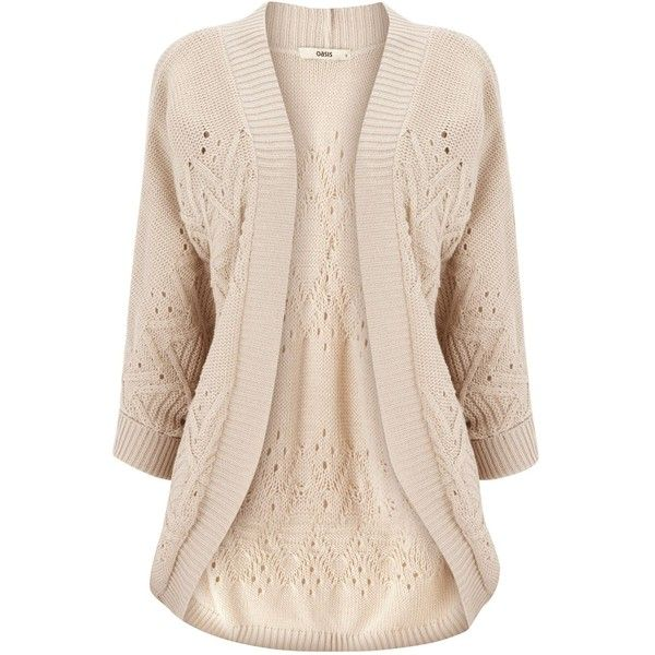Oasis Cable pod cardi ($46) ❤ liked on Polyvore featuring tops, cardigans, sweaters, jackets, knitwear, neutral, slouchy tops, wrap cardigan, pink cable knit cardigan and slouchy cardigan