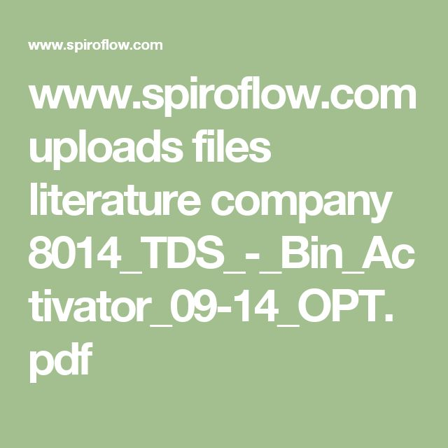 www.spiroflow.com uploads files literature company 8014_TDS_-_Bin_Activator_09-14_OPT.pdf