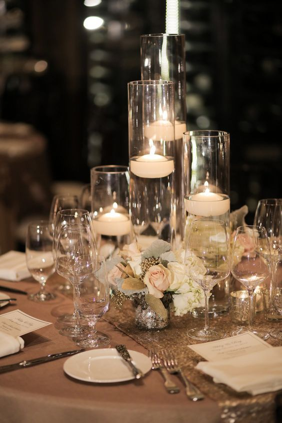 Glass Floating Candle Wedding Reception Centerpiece