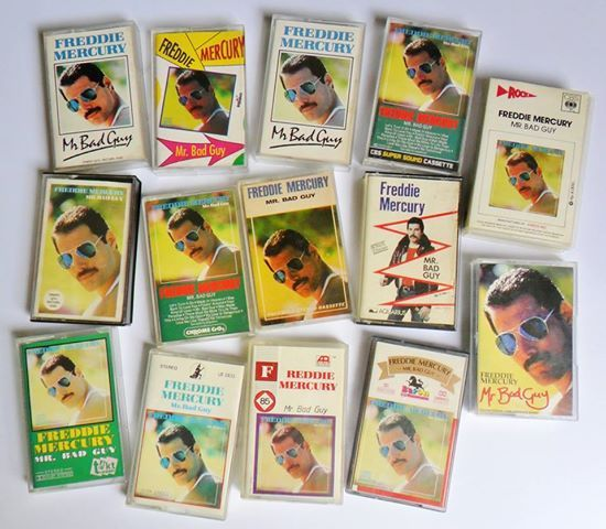 Rare Share: A collection of Freddie Mercury's album 'Mr Bad Guy' on the cassette tape format, mostly from 1985.