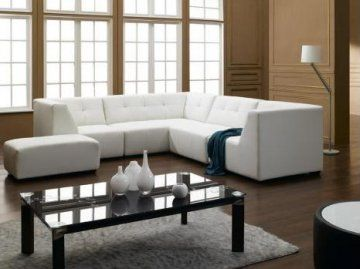 White Bonded Leather Sectional Sofa at GoWFB.ca | True Contemporary | Free Shipping - White Bonded Leather Sectional Sofa by True Contempora...