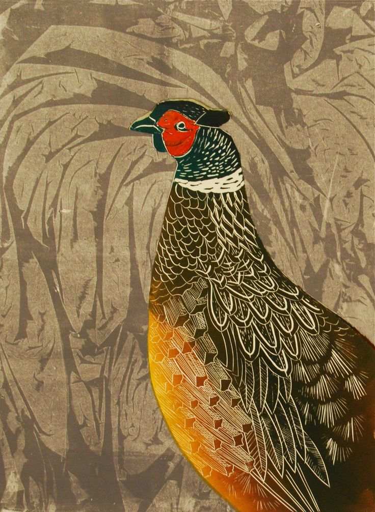 Linocut pheasant with a cling film background.  www.celialewis.co.uk
