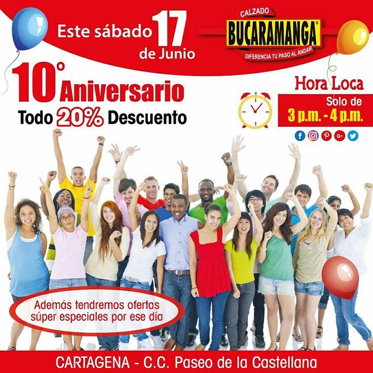 ¡Te invitamos! este 17 de Junio a nuestro #Aniversario #10 en #Cartagena en el Centro Comercial de la #Castellana. ¡TODO AL 20% DE #DESCUENTO! Hora Loca de 3pm - 4pm. Tendremos otras #ofertas súper especiales. ¡Te esperamos! www.calzadobucaramanga.com