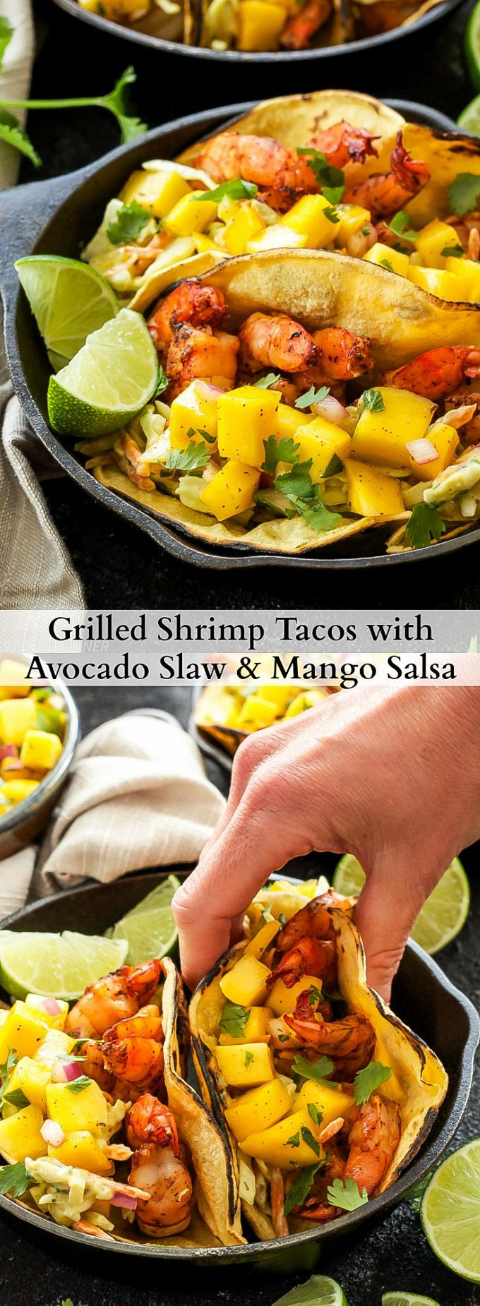 Grilled Shrimp Tacos with Avocado Slaw and Mango Salsa   Grilled shrimp tacos with fresh tropical toppings! Perfect for an easy summer dinner!