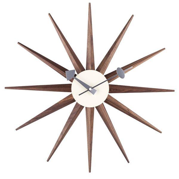 Hans Andersen Home Walnut Sunburst Clock