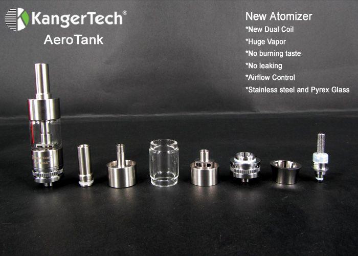 Kanger Aerotank atomizzatore in acciaio inox e tank in pyrex con regolazione del flusso d'aria http://www.svapostore.net/kangertech/kangertech-aerotank