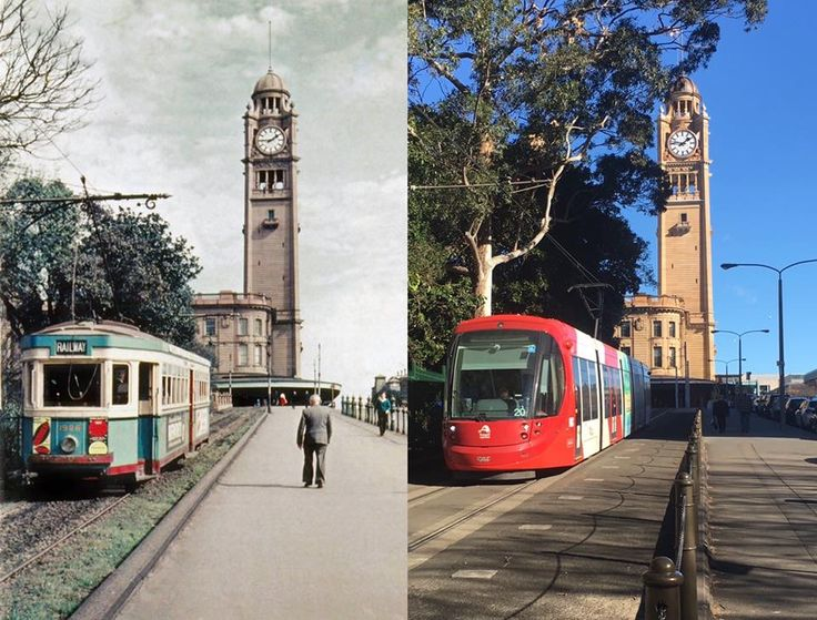 "The western (formerly in bound now outbound) tram ramp at Central Station at approximately 1:45pm in circa 1957 and in 2017. [Jim Powe's ""Visions of Steam"" (courtesy of Brad Powe) > Phil Harvey. By Phil Harvey]"