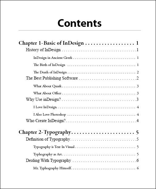 how to design a table of contents