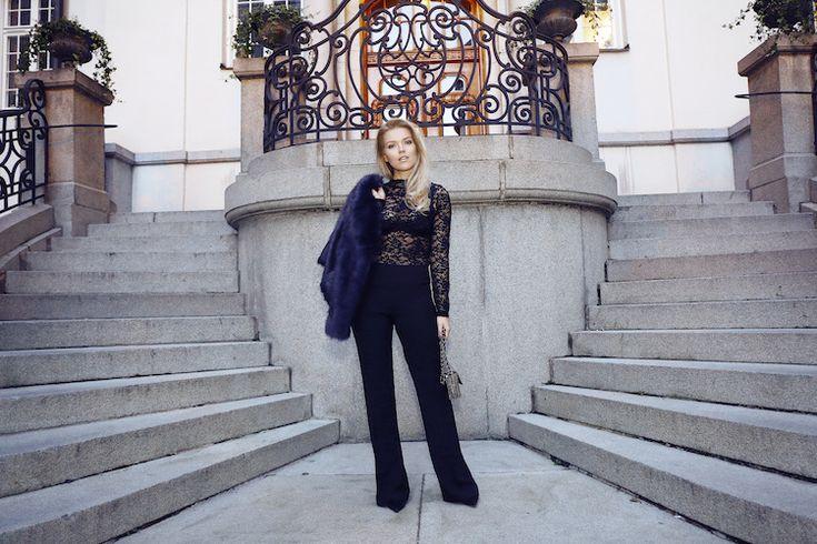 faux fur / Gina Tricot  top / Gina Tricot  pants / Andiata  bag / Gina Tricot
