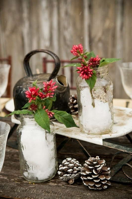 Winter wedding centerpiece for your rustic theme looks
