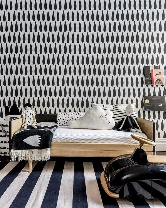 Chambre enfant graphique en noir et blanc / black and white kid's room  #papierpeint  #wallpaper