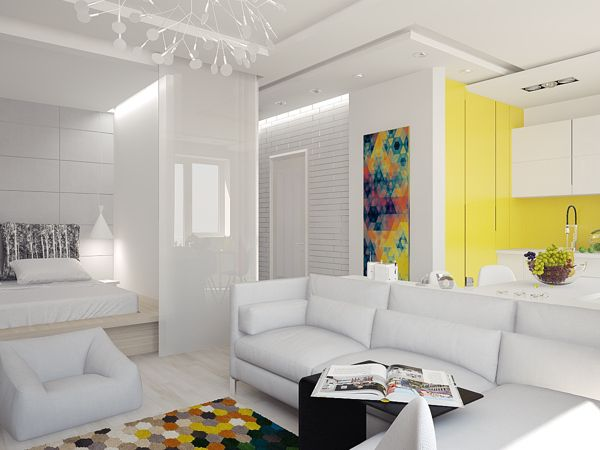 A small and bright 430 sq ft apartment with a splash of color, Image 5 of 6