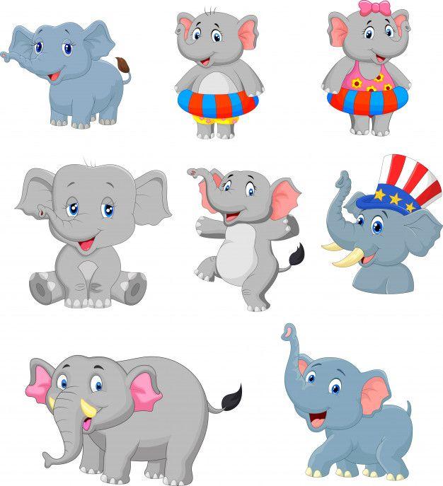 Coleccion De Elefantes De Dibujos Animados Vector Premium Elefante De Dibujos Animados Dibujos Animados Elefantes