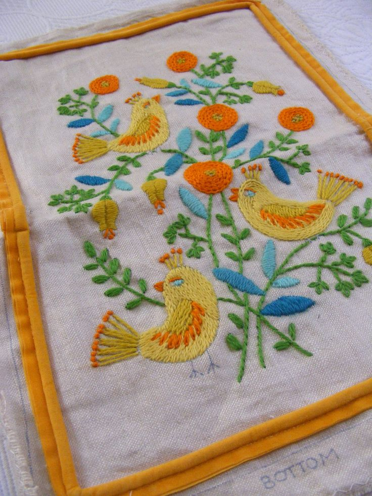Vintage crewel embroidery yellow birds and flowers