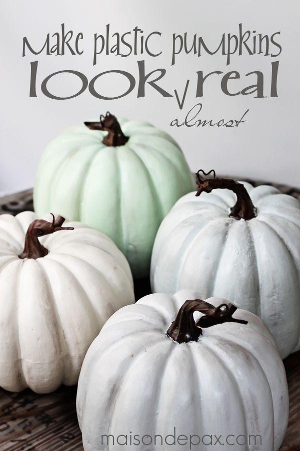 Try this paint and wax technique to make plastic pumpkins look like real heirloom pumpkins via maisondepax.com #fall #paint #diy