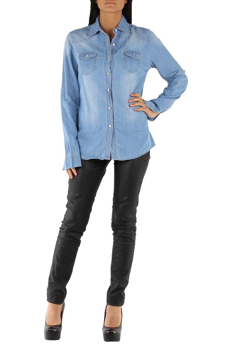 Camisa Denim mujer azul vaquero claro manga larga Condición:  Nuevo Composición 95% algodón, 3% poliéster, 2% elastano Categoría camisas, camisas vaqueras, camisas denim, jeans Paquetes 10 piezas Los detalles del paquete Los paquetes de color Tamaño : S, M, L, XL De color azul vaquero claro  Mayorista de ropacamisas denim al por mayor: http://intueriecommerce.com/es/
