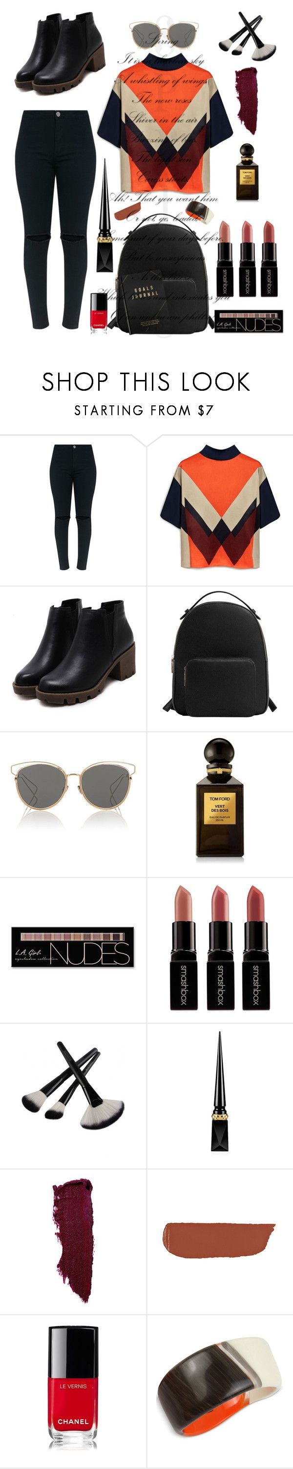"""Standout!"" by dmasterstylist ❤ liked on Polyvore featuring Mulberry, MANGO, Christian Dior, Tom Ford, Charlotte Russe, Smashbox, Christian Louboutin, Rossetto, Chanel and Robert Lee Morris"