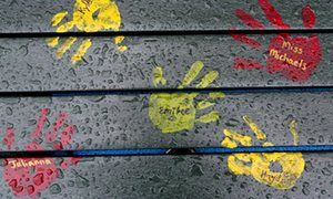Painted hand prints with names of teachers and students are on a playground bench at the new Sandy Hook elementary school in Gun rights advocates prepare push for more guns in schools – grizzly bears or no Attempts to allow more guns in K-12 schools were defeated in 15 states last year but second amendment campaigners are only encouraged by Trump's election