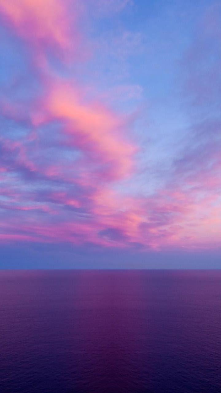 Sky Horizon Blue Pink Sea Purple Sunset Iphone Wallpaper