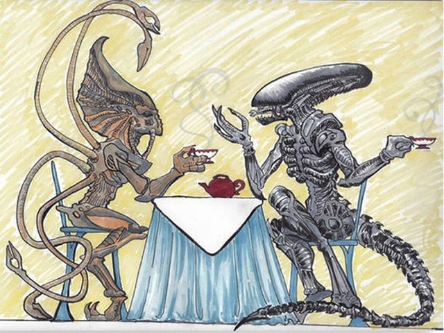 Happy INDEPENDENCE DAY to all my followers in USA  * Independence day alien with Giger's xenomorph having a cup of tea  cheers! Draw by SParrett