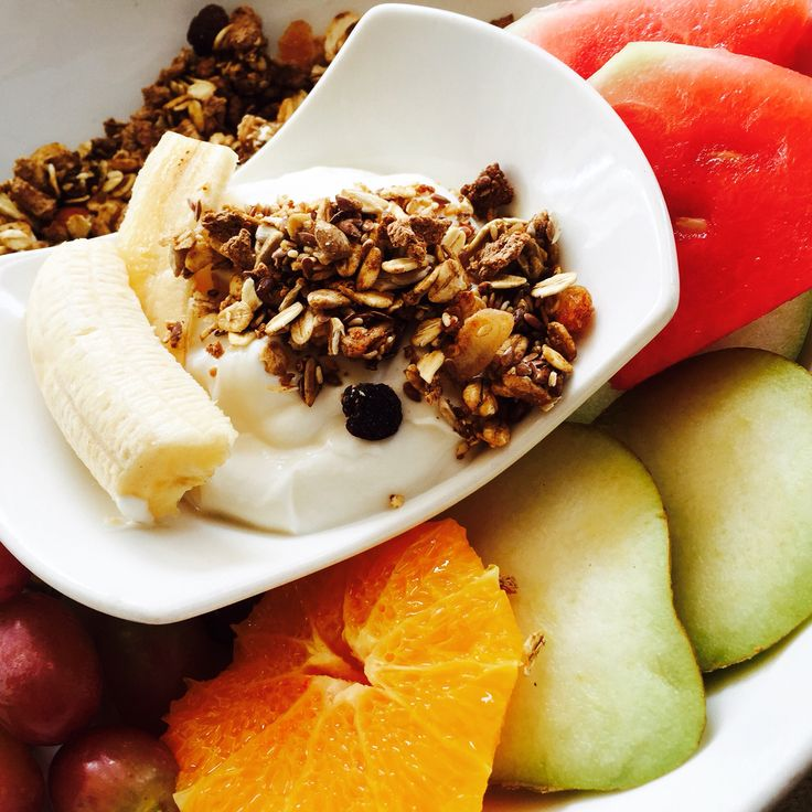 Fruit salad and muesli with yoghurt!! The perfect breakfast! #healthy #cleaneating #recipe