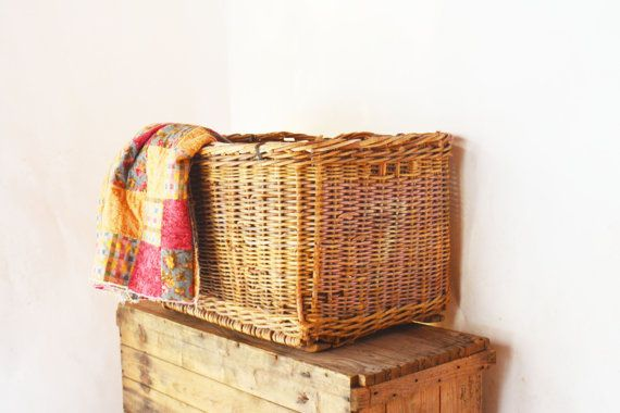 Extra Large Wicker Basket Antique Cotton Picking by Vintassentials