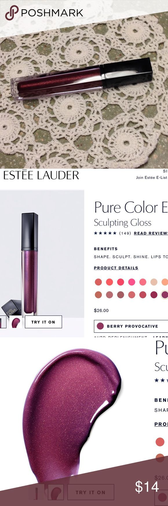 💕NWT💕 ESTEE LAUDER Sculpting Gloss Multi-dimensional optics help create magnified-looking volume for lips with a fuller, enviable effect.  Glide on this hydrating gloss for smooth, lasting shine that starts with a subtle hint of color and builds to the intensity you desire. Immediately, lips are moisturized with no stickiness.  Unique applicator embraces the curves of your lips, letting you shape and color with precise definition.  Each shade comes in the luminous, dimensional finish that…