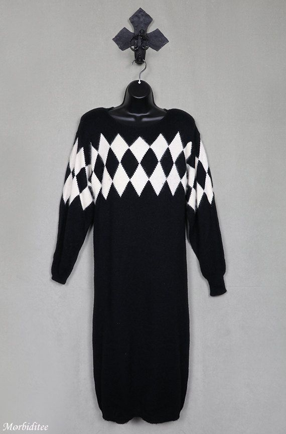 1980s sweater dress argyle black with ivory white by Morbiditee