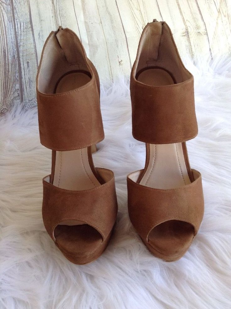 BCBGeneration Suede Open Toe Wide Ankle Strap Pumps High Heels Shoes Tan 8.5 B | Clothing, Shoes & Accessories, Women's Shoes, Heels | eBay!