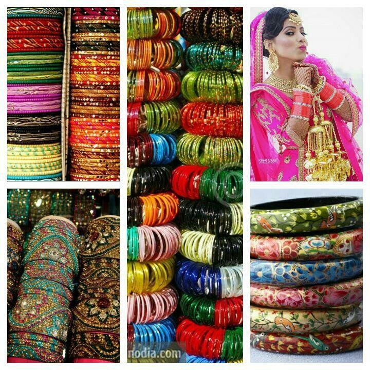 Colourful Indian Bangles:lakh bangles  from Rajasthan,stone bangles from Hyderabad,Colourful  glass bangles, north Indian bride 'choora'with 'kalires',Kashmiri  bangles