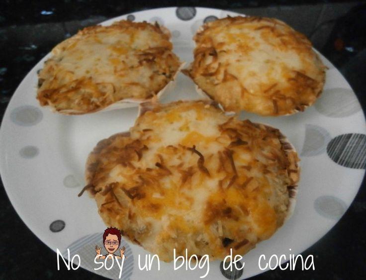 NO SOY UN BLOG DE COCINA→ Recetas paso a paso con imágenes: CONCHAS GRATINADAS, rellenas de PESCADO, GAMBITAS y MEJILLONES