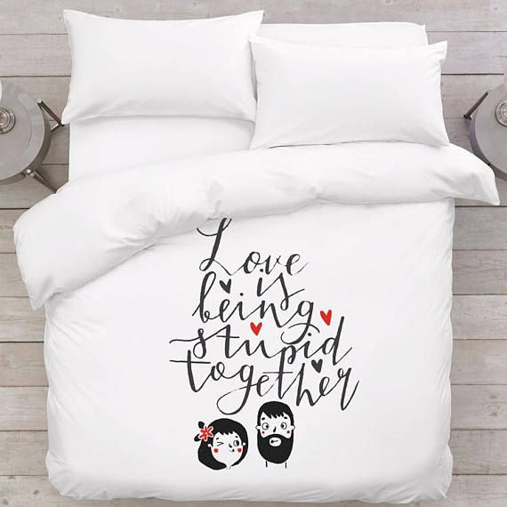Cute couple gift idea Romantic bedding Wedding gift for couple Love gift Cute bedding Duvet cover Anniversary gift for her Girlfriend gifts  In the set: - 1 duvet cover (with zipped closure) - 2 pillowcases (Remember to let us know about your chosen pillowcase sizes!)  Lovely