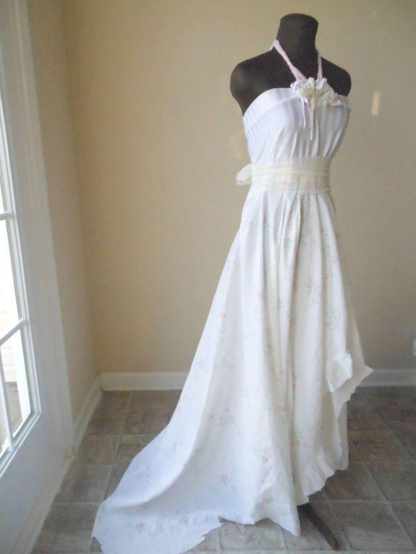 Romantic boho shabby chic rose print wedding dress with for Wedding dresses shabby chic