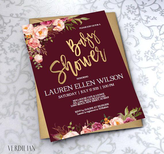 Blush Burgundy Gold Floral Baby Shower Invitation Template