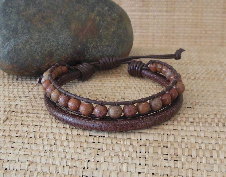 Men's Brown Leather Bracelet with Wood Jasper/Masculine Bracelet/Rugged Men's Bracelet/Gift for Him/3rd Anniversary/Men's Stone Bracelet/Leo by DevaOriginalBracelet on Etsy