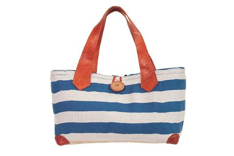 New for 2014 The marine tote, available in Red, Blue, or Grey in small or large. www.ravinala.co.uk #leather #raffia #drawstring #beachbag #strawbag #tote #basket