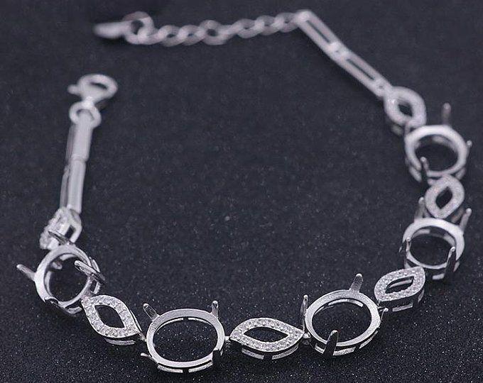 Connector Bracelets Connector Pave Setting Bracelets Victorian Solid Silver, Handmade Link Bracelets Natural