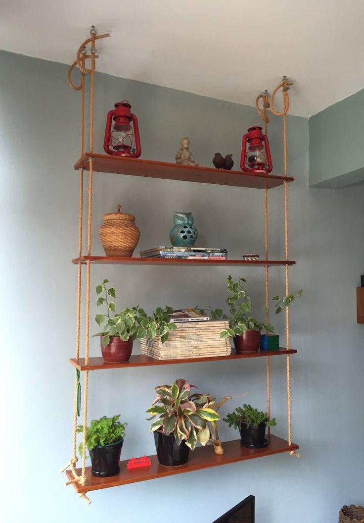 prateleiras suspensas com cordas - altura regulável - decoração sem marca