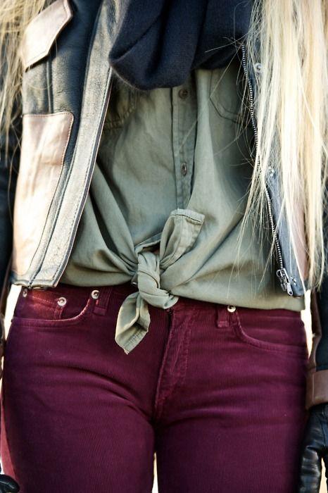 BurgundyColors Pants, Colors Combos, Fashion, Maroon Pants, Color Combos, Style, Colors Jeans, Colors Combinations, Colored Jeans