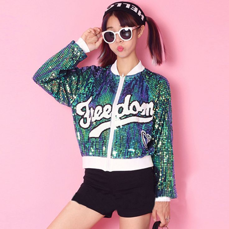 2016 Fashion women summer coat European casual jacket sequins outerwear clothing zipper long sleeve letter printed slim hip hop