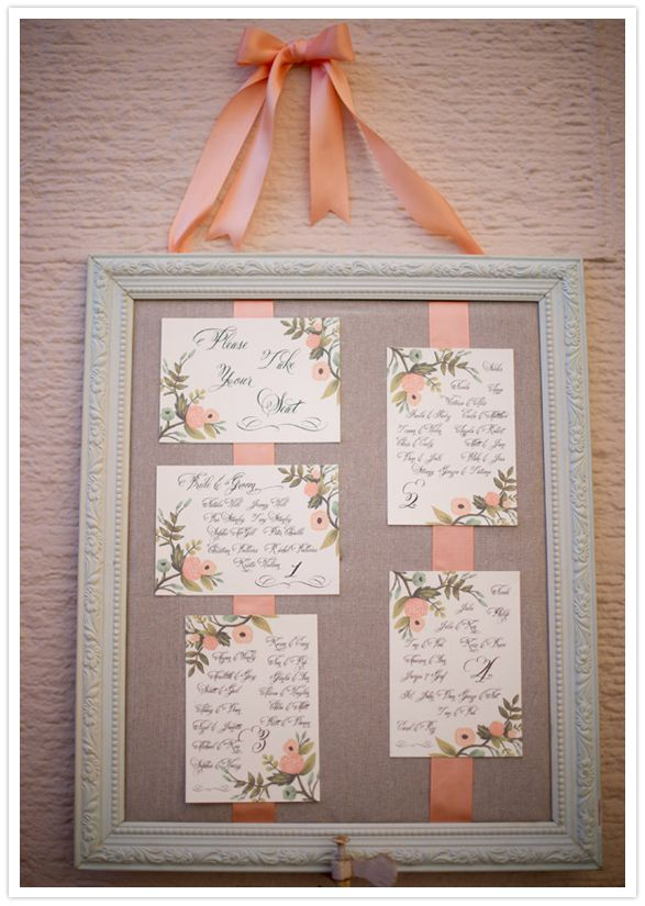 Nice thing about this is you can buy nice paper and print out seating chart from computer. Then you only have to place the cards in a nice frame w/ cloth backing. Easy & elegant DIY project. (Beautiful calligraphy seating chart. Sugarcoated Events.)