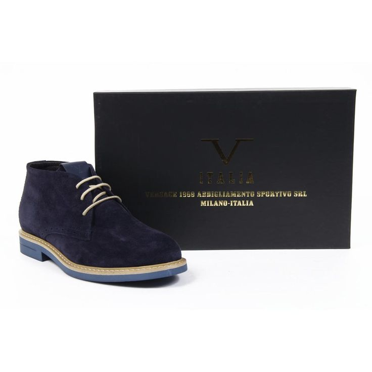 """Navy Versace 19.69 ankle boot composed of a 100% suede upper, light blue rubber outer sole with cream laces. This boot has the best combination of comfort and style for your autumn/winter wardrobe.  Available from https://pierroshoes.com, 10% off with """"pierro10"""" with free shipping."""