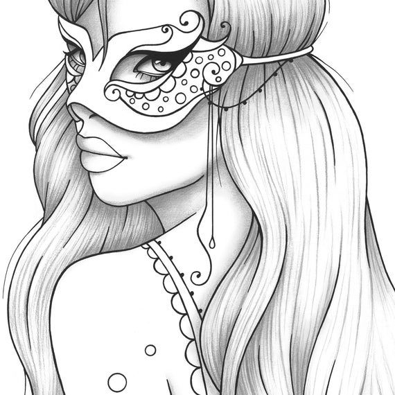 Adult Coloring Page Girl Portrait And Mask Colouring Sheet Fashion