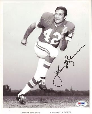 Johnny Robinson chiefs football cards | Johnny Robinson Autographed Photo - 8x10 Wire Chiefs PSA DNA #S43392