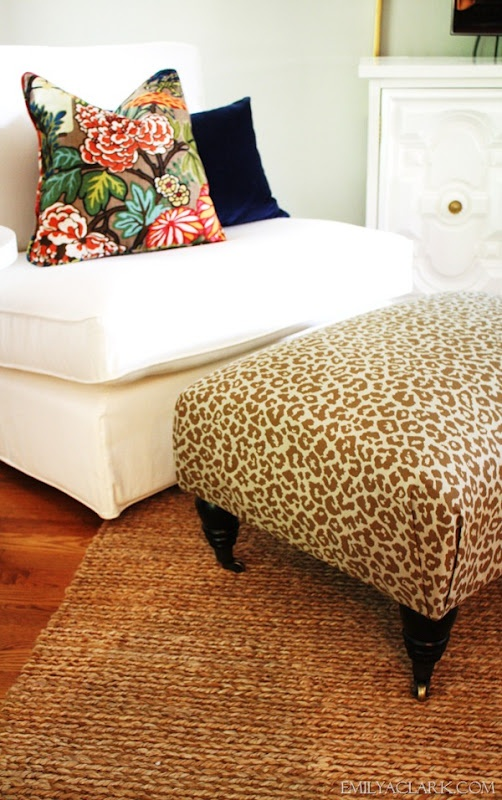 Recovering an ottoman in a leopard print for our living room (and how to make neat corners)